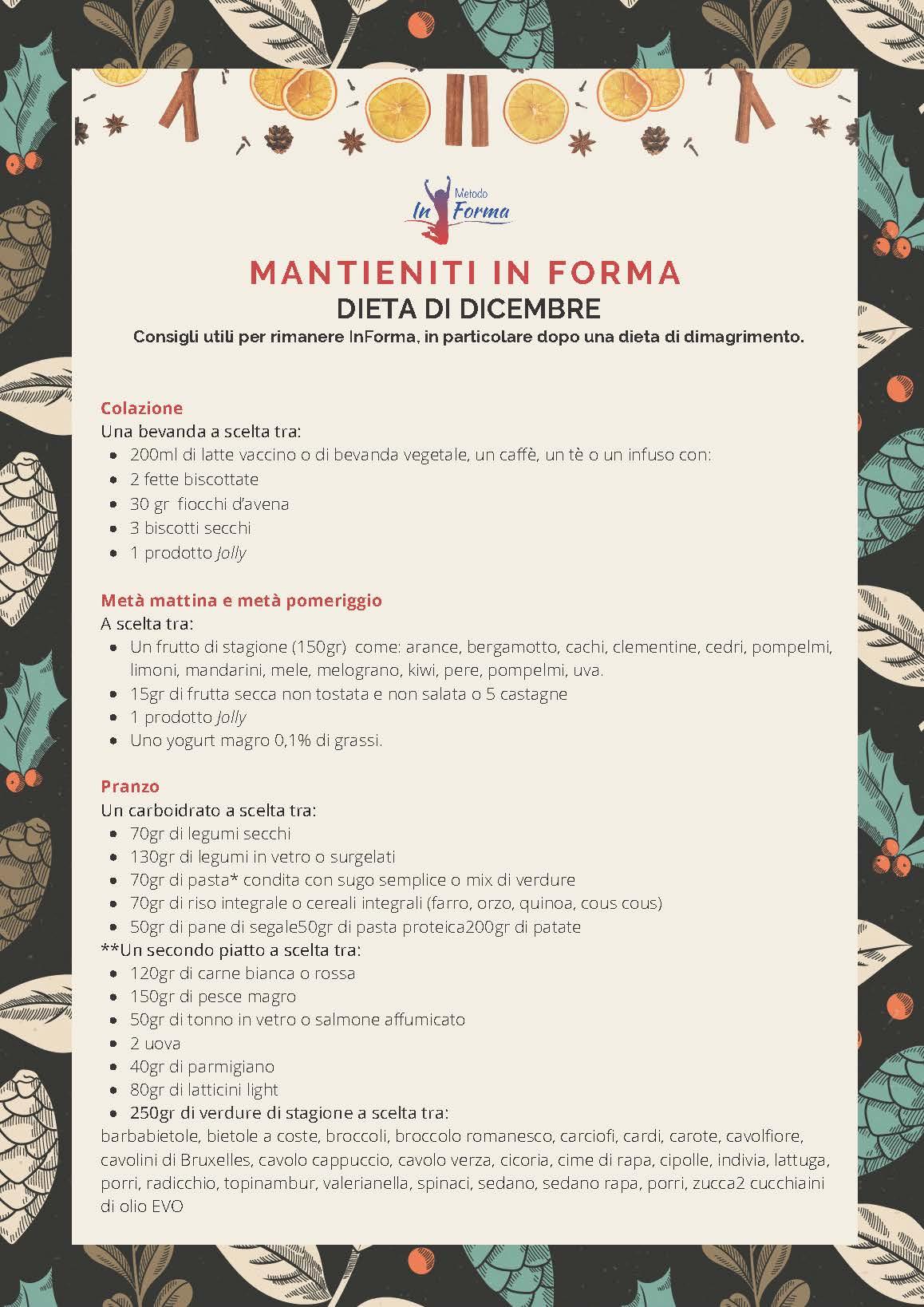 Dieta di dicembre | Metodo InForma